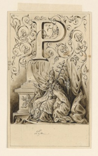 Letter above, flanked by intertwining rinceau.