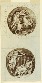 A victory riding upon a chariot toward right. A triangular pylon is shown in the right background. Bottom: a flying female genius holds a wreath over a stream god. Both designs are framed by squares with sides divided into 6 parts each in graphite. Graphite marks; captions: Reno [a river, formerly tributary of the Po]; fame della guerre