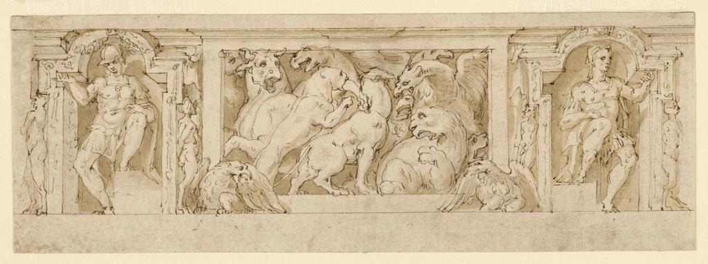 Drawing, Frieze, Combat of Animals