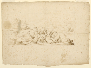 Two putti, each holding a trumpet, sit with a plumed mask between them. Behind a quiver and a landscape.