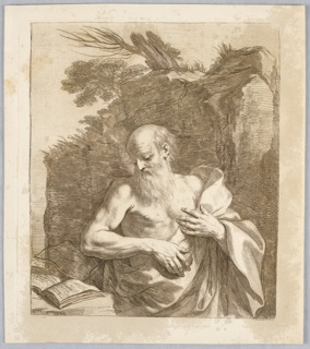 Saint Jerome standing in front of a large boulder, wrapped in a cloth. He has a stone in his hand, and looks at a a book to the left.