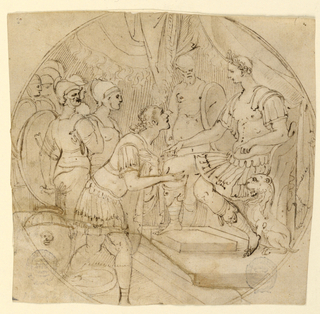Drawing, Design for a Plate or a Tondo: Soldiers supplicant before a Roman General, mid-16th century