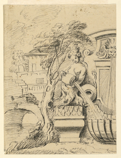 Left half of fountain at edge of stream (at left) with bridge and tower in the distance.  Central section of fountain with shell as basin into which water pours from a mask in the upper part and from jar held by a mermaid who kneels on a pedestal.