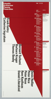 "Poster, ""Fall 1989"" poster for Columbia School of Architecture lecture series, ca. 1989"