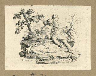 Print, Cupid Having Cupid Eat the Heart of a Boy, Which She Has Cut Out, 1758