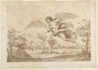 An angel flying over a landscape, sleeping cattle at right, with ships beyond; sleeping man at left, with farms beyond. Man has a small child in each arm.