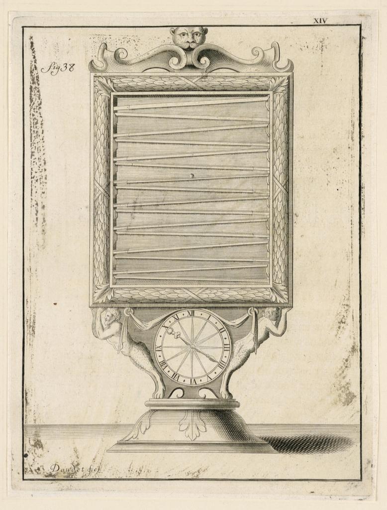 """Print, Design For a Clock, pl. XIV from """"Recueil d'Ouvrages Curieux de Mathematique et de Mecanique, ou Description du Cabinet"""", 1719"""