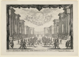 """Horizontal rectangle. The third intermezzo of three, titled """"The Battle is Stopped by Love's Arrival with her Cortege."""" The proscenium is visible, with two rows of duelers in the foreground, lines of musicians beyond. An orchestra of women above in clouds. The set itself is a street lined with classical perches in perspective. Below, the title and artists' names."""