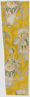 Exotic polychrome blooms on bright yellow silk in a large, irregular pattern with green and pink silk and silver thread in a large-scale floral and foliage pattern in the Bizarre style.