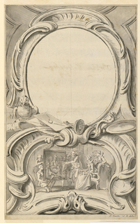 Drawing, Design for Frame Surrounding the Portrait of Sir Francis Walsingham