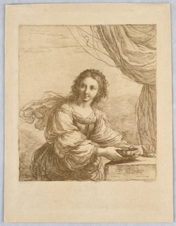 Sophonisba sits at a table, in front of a curtain. The crown is on the table, far right; a bowl in both her hands, resting on the table. She looks slightly to the left.