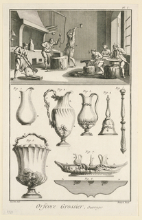 Print, Orfevrerie Grossier, Ouvrages, Plate I from Denis Diderot, ed. l'Encyclopedie,  ou Dictionnaire raisonne des sciences, des arts et des metiers, Paris, 1771