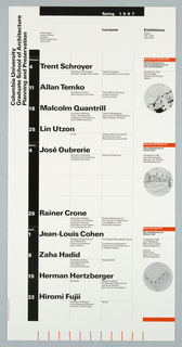 "Poster, ""Spring 1987"" poster for Columbia School of Architecture lecture series, ca. 1987"