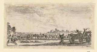 """Print, Battle Scene, from """"Desseins de Queleques Conduites de Troupes, Canons, et Ataques de Villes"""", 1610-1664"""