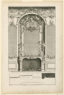 """Printed from two plates. A) a richly decorated fireplace with a mirror set into a shallow niche. Decoration: foliage, flowers, putti, and a painting representing the birth of Venus in the upper part of the mirror. Candlesticks with putti on mantlepiece. B) profiles of wall with legend. Inscribed along lower margin of A: """"Decoration de Cheminée, accopagnée … une Gallerie""""; along lower margin of B: """"A Paris chez Mariette … d'Hercules""""; lower left: """"2""""."""