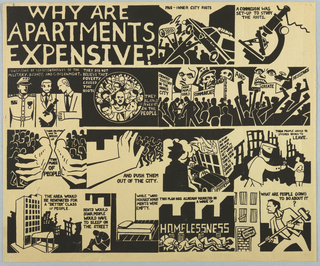 Black block print detailing inner-city politics