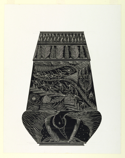 Drawing, Design for a Crystal Vase: Bird in Forest, 1956