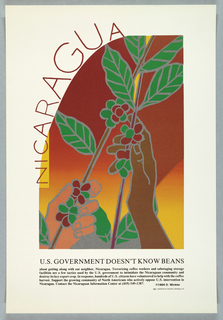 Description: Promotional poster for the Nicaraguan Information Center; print of hands with coffee plants
