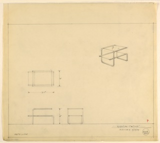 Perspective, plan, and elevation drawing for low end table. Rectangular glass surface and shelf below, supported by asymmetrical tubular metal frame.
