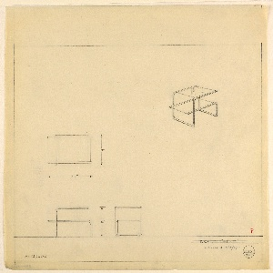 Design for Metallon and glass end table for Richard H. Mandel House. At upper right, perspective shows asymmetrical two-tier end table comprised of two overlapping and intersecting L-shapes, their frames in polished tubular metal (Metallon, a nickel-silver material) and glass, untrimmed on short edges. Below, object shown in plan, front, and side elevations with dimensions. Inscribed with Deskey No. 6265.