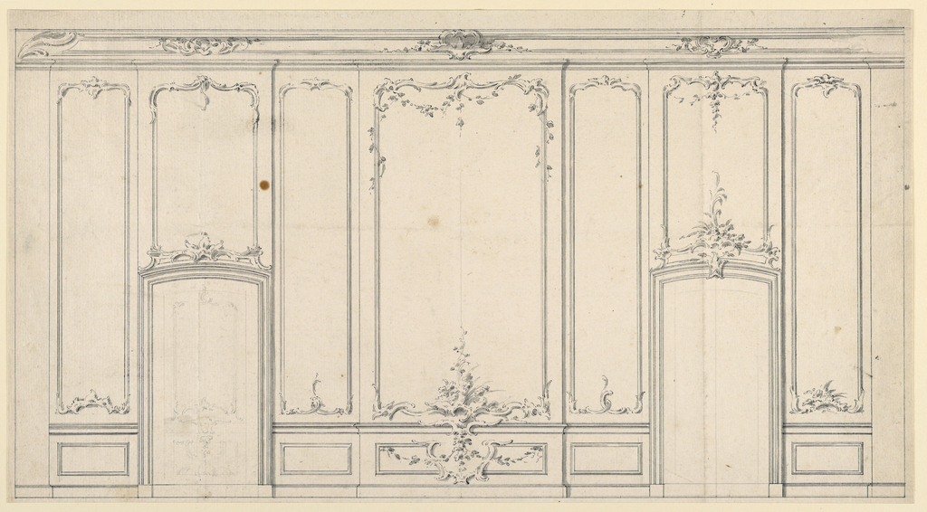 Some details of the sparse decoration are suggested differently, and alternatively, in the left and right halves. Flanked by narrow wall panels, the central panel and two more with the door frames project. A decorated panel is slightly sketched inside the left door frame, probably reffering to a blind door.
