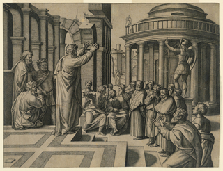 St. Paul, with his hands raised, stands on steps at the left. In back, three men listening, stand also on steps. Columns beyond. To the rear of the men, a statue of Mars and a round, domed temple.