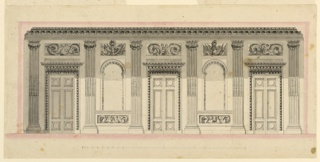 Five fluted pilasters frame wall panels in which three folding doors alternate with two simulated arched window openings. Cast shadow in the top part. Bottom margin: the scale.