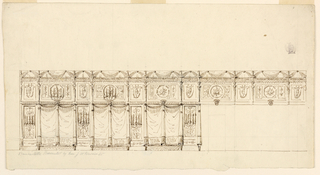 Elevation of a passageway hung with fringed textiles, standards and panels with Pompeiian style figures.