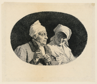 An old couple in half-length. Man in foreground, left, looking straight to right. He wears a nightcap, holds a s tick in his left hand, gesticulates with his right hand. Woman at right, turned slightly to right, head to left, and is looking at the man.