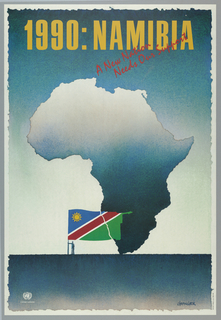 Map of Africa with Nambian flag; for United Nations
