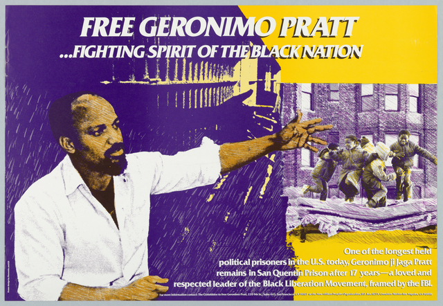 In white above: FREE GERONIMO PRATT/...FIGHTING SPIRIT OF THE BLACK NATION: lower right: one of the longest held political prisoners in the U.S. today...[4 lines of text]. Color photograph of a bearded man gesturing with hand at group of children playing.