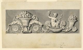 A palmette motify with a fruit bowl as center, the Bacchus boy on a seat, a cornucopia.