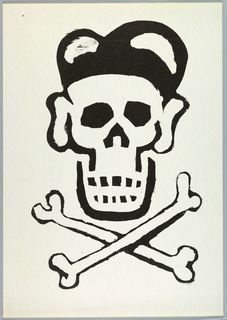 Print of skull and cross bones resembling Ronald Reagan wearing a baseball cap