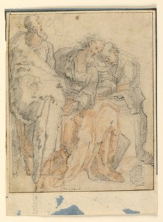Two seated apostles with books in their hands sleep, leaning against each other. Another standing at left is shown de face, with the head turned in profile toward right.