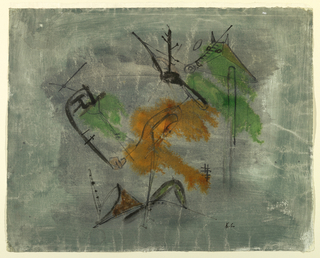 Horizontal rectangle depicting an abstraction of two horses' heads and hands holding reins, against a green-grey ground with spots of heavy green and orange-brown.