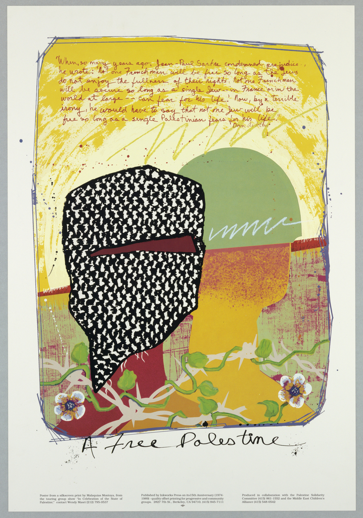 Color print of two heads with D. Ashton quote For Palestine Solidarity Committee and Middle East Children's Alliance