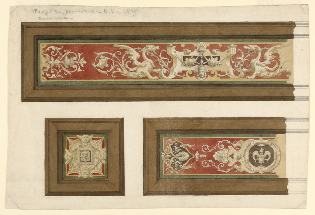 Drawing, Project for Neo-Renaissance Decoration, 1897