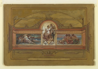 """Elevation for a wall with three painted panels, labeled on tablets below: """"CRIME,"""" """"JUSTICE-TRUTH,"""" and """"LAW."""" A cherub is shown above the central tablet. Above, the central panel is higher than the lateral ones and half-circular on top. In the central panel, Justice appeared with a swrod, seated upon a chair, and converses with Truth, who stands at right behind the chair. At left, in the panel representing Crime, three anxious-looking women lay on a sea shore. At right, in the panel representing Law, three women study from a book."""