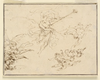 A winged genii with two trumpets. Beside him is another one flying. Below are two groups of flying putti.