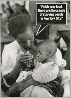 Black and white photograph of mother feeding malnourished child For Coalition for the Homeless