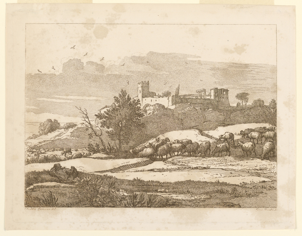Castle on a ridge, with flocks of sheep in the foreground and to left. Birds above.