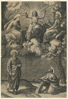 The Virgin is seated, above in the clouds, at Christ's right, and Saint John the Evangelist at his left. On the ground, below, left, St. Paul; on the right, kneeling by her wheel, is St. Catherine.