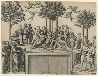 Apollo playing his lyre is seated under four olive trees in mid-distance. He is surrounded by several figures.
