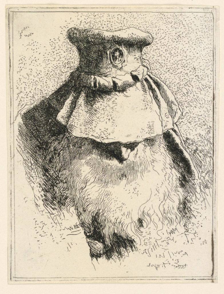 Head of an old man in frontal view with his face bent downward. The big hat and beard leave only his nose visible from his face.