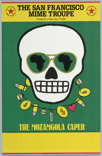 Majority of poster on green ground with horizontal bands of yellow at top and bottom, thin horizontal red framing lines at top and bottom. At center, illustration of a white skull wearing green aviator sunglasses that reflect a black map of the continent of Africa in each eye. Surrounding the base of the skull is a necklace with different charms including bullets, diamonds, gold coins, a heart, and the Statue of Liberty. Printed text above and below.