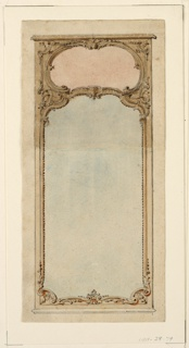 Drawings of a high looking glass, a low mirror in an escutcheon. Verso: a scale
