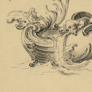 A dragon and another fantastic animal are on the boat.  Writing is indicated in the escutcheon.