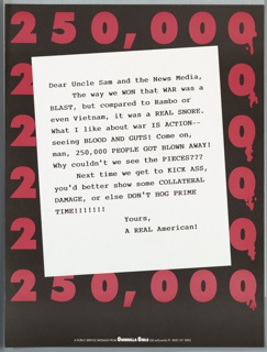 """Description: Satirical letter to Uncle Sam  and the news media regarding war and violence on TV from """"A Real American"""" on background of red numbers: 250,000."""
