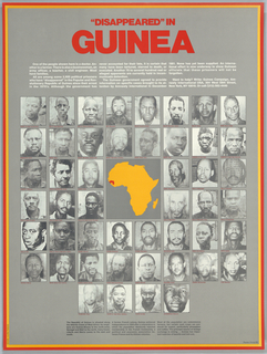 Photographs of political prisoners with map of Guinea For Amnesty International, all photographs are surrounded by Africa. Extensive text on political prisoners in Guinea.
