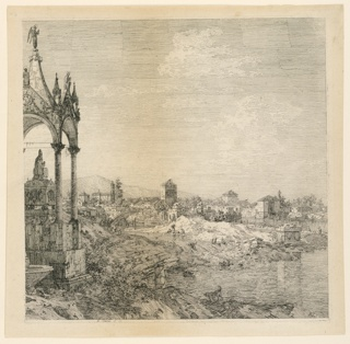 Print, A View of a Town with a Bishop's Tomb, 1740–1745
